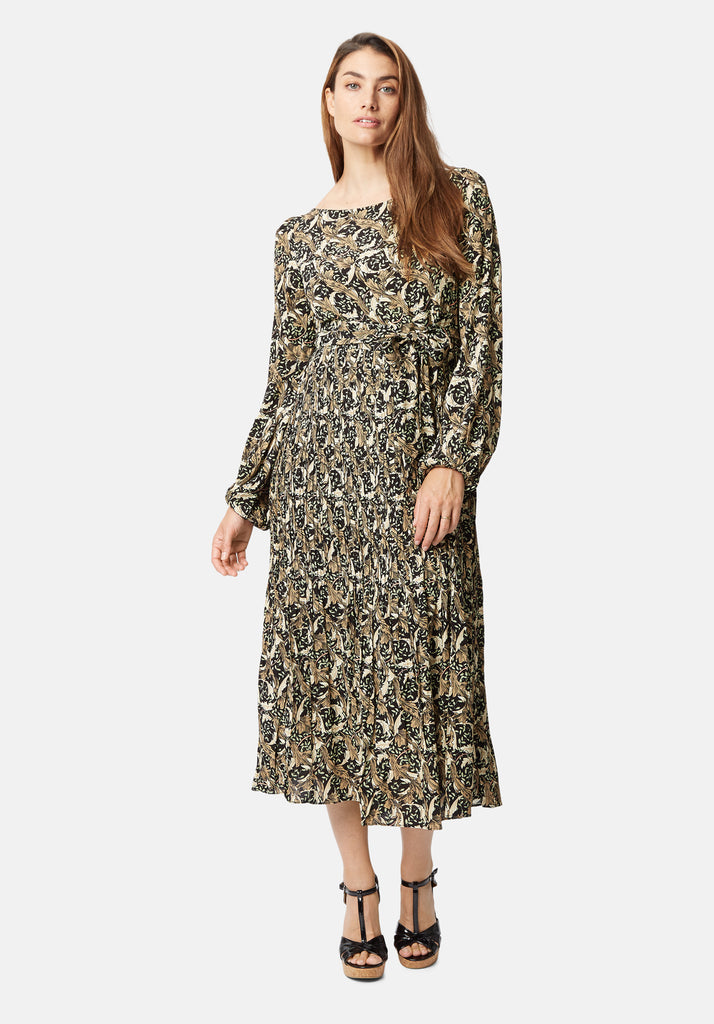 Traffic People Fathom Printed Long Sleeve Maxi Dress in Black Side View Image
