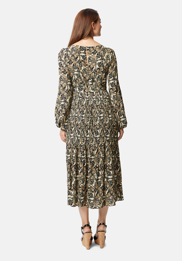 Traffic People Fathom Printed Long Sleeve Maxi Dress in Black Back View Image