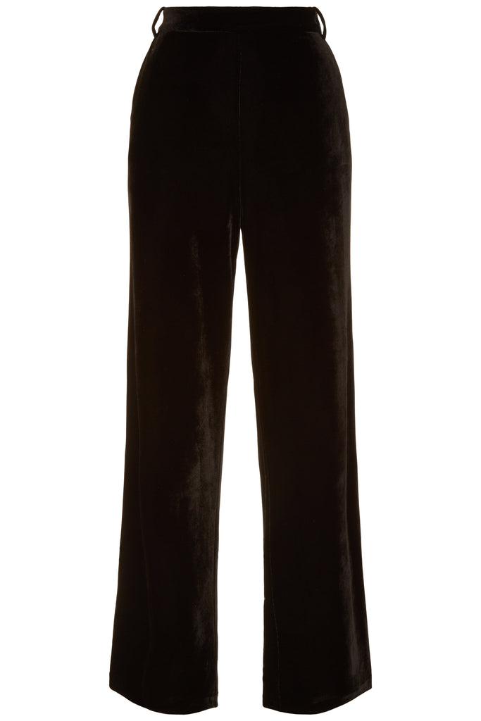 Traffic People Straight Leg Velvet Trousers in Black FlatShot Image