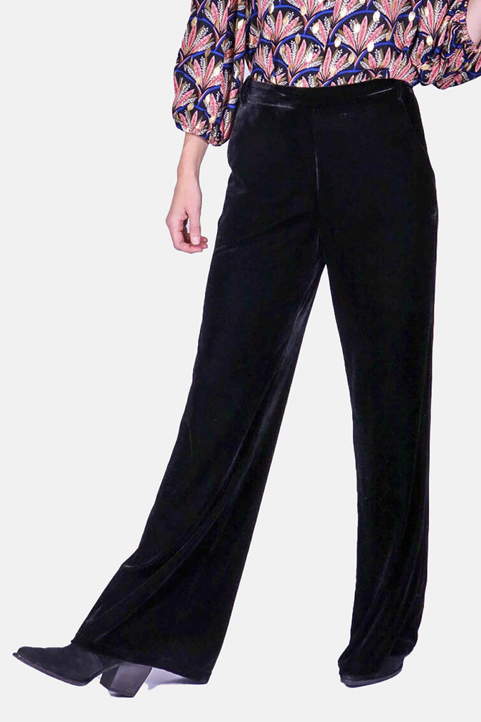 Traffic People Straight Leg Velvet Trousers in Black Front View Image