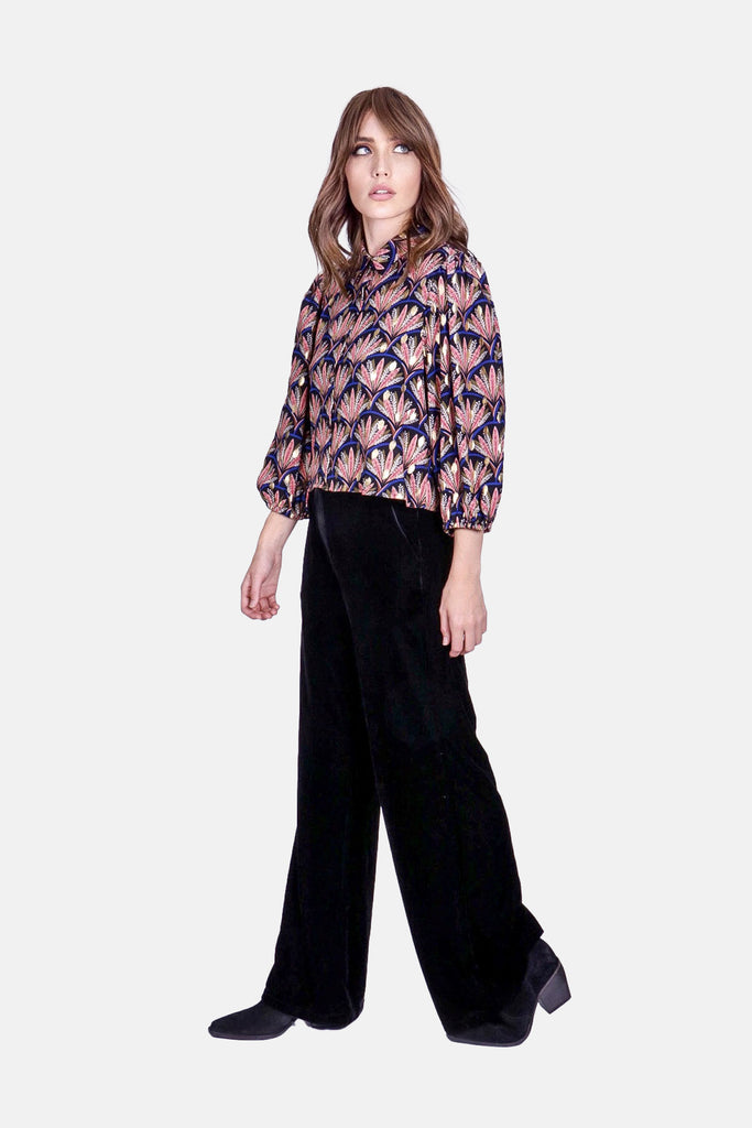 Straight Leg Velvet Trousers in Black