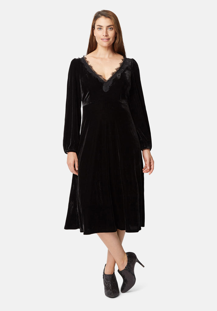 Traffic People V-Neck Angela Midi Dress in Black Velvet Side View Image