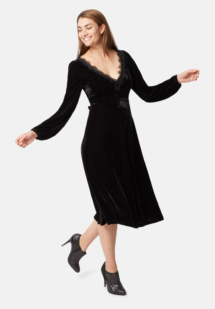 Traffic People V-Neck Angela Midi Dress in Black Velvet Front View Image