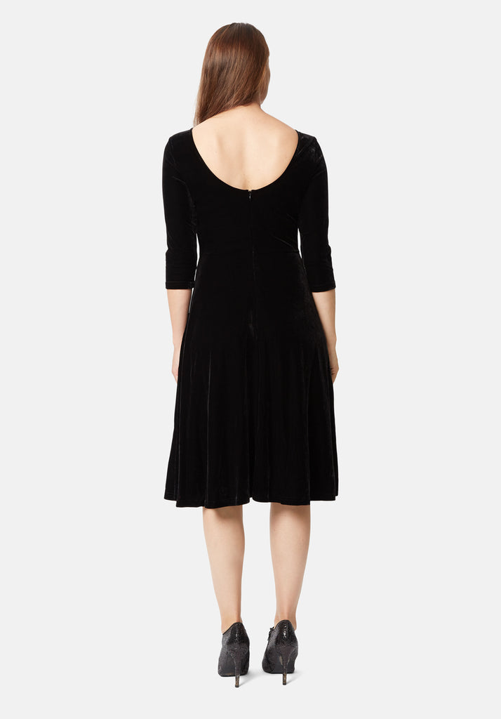 Traffic People Velvet Pensive Midi Dress in Black Side View Image