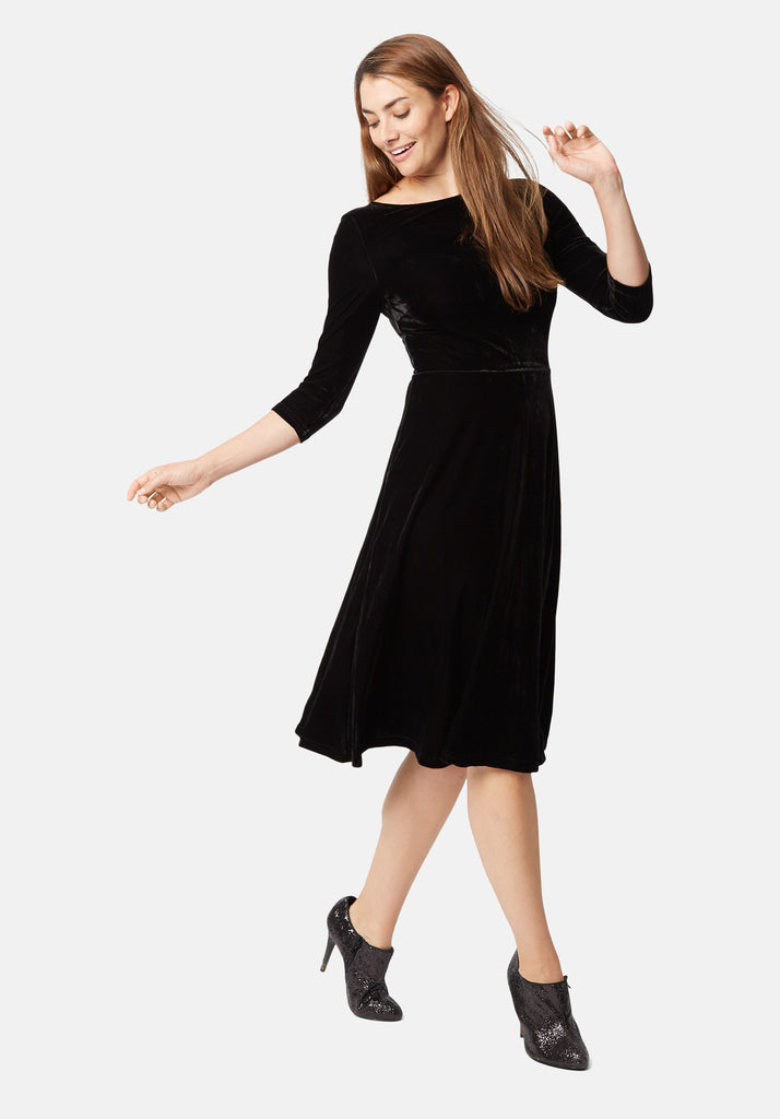 Traffic People Velvet Pensive Midi Dress in Black Back View Image