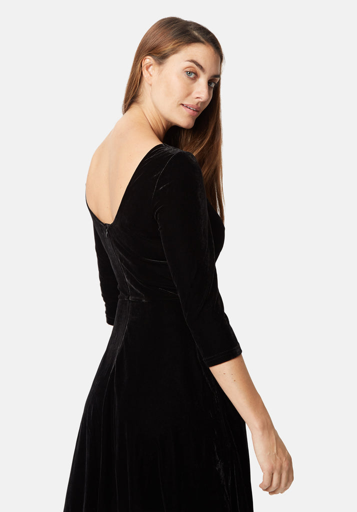 Traffic People Velvet Pensive Midi Dress in Black Close Up Image