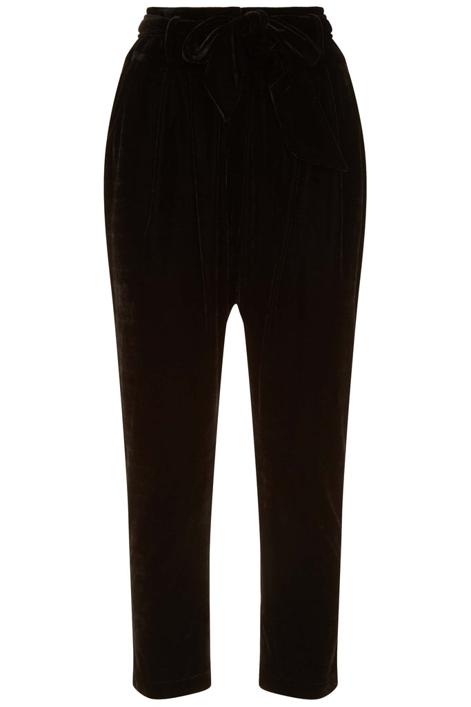 Traffic People Colby Peg Velvet Trousers in Black Back View Image