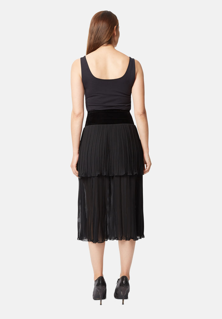Traffic People Pleated Tiered Midi Skirt in Black Back View Image