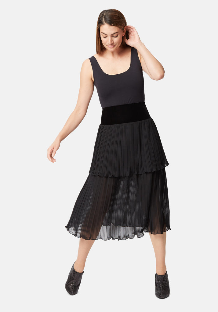 Traffic People Pleated Tiered Midi Skirt in Black Front View Image