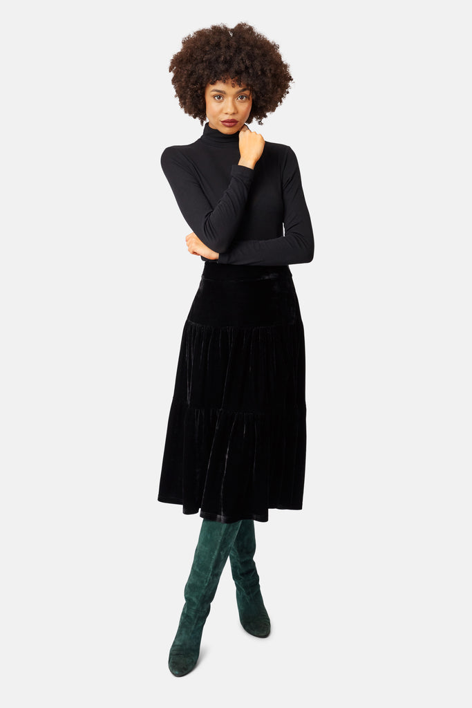 Traffic People If You Please Velvet A-line Midi Skirt in Black Front View Image