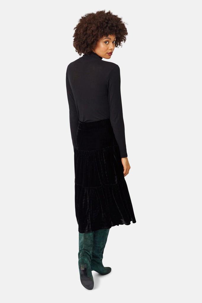 Traffic People If You Please Velvet A-line Midi Skirt in Black Side View Image