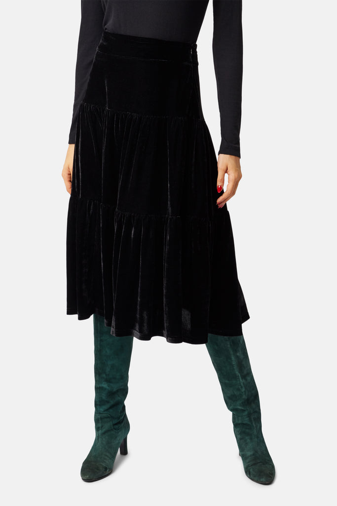 Traffic People If You Please Velvet A-line Midi Skirt in Black Back View Image