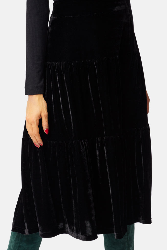 Traffic People If You Please Velvet A-line Midi Skirt in Black Close Up Image