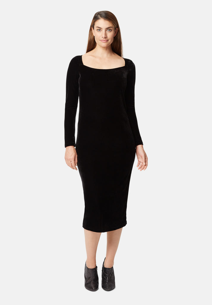 Traffic People Body Con Velvet Midi Dress in Black Front View Image