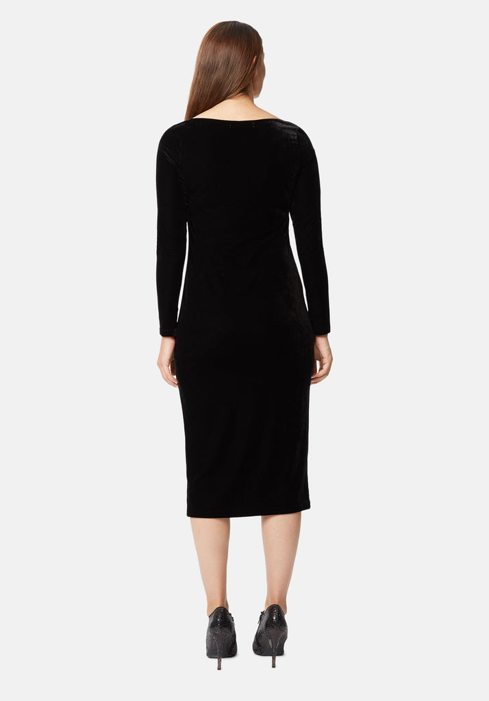Traffic People Body Con Velvet Midi Dress in Black Side View Image