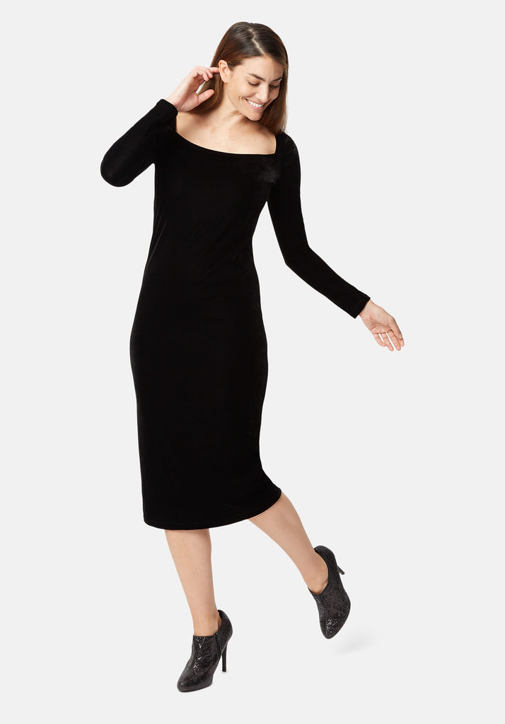 Traffic People Body Con Velvet Midi Dress in Black Back View Image