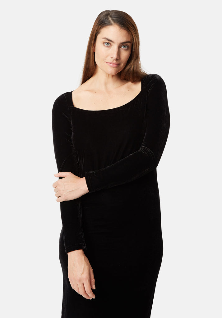 Traffic People Body Con Velvet Midi Dress in Black Close Up Image