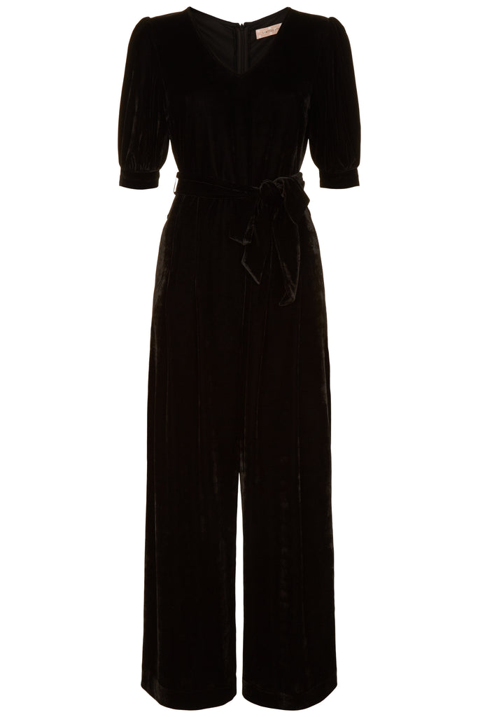 Traffic People Short Sleeve Velvet Hetty Jumpsuit in Black FlatShot Image