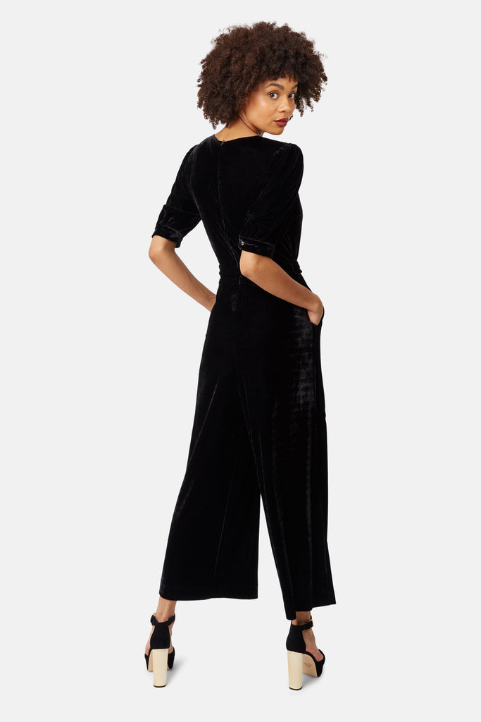 Traffic People Short Sleeve Velvet Hetty Jumpsuit in Black Side View Image