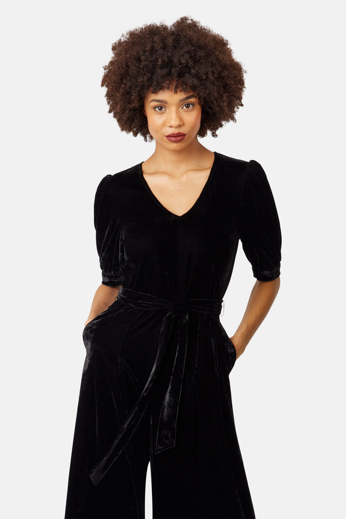Traffic People Short Sleeve Velvet Hetty Jumpsuit in Black Back View Image