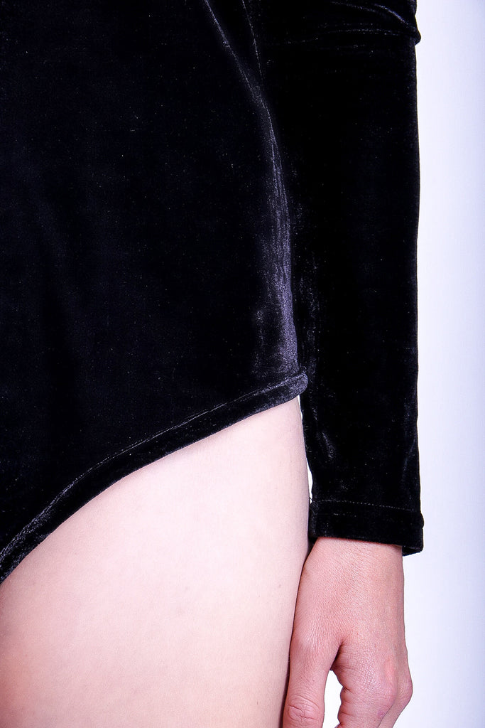 Traffic People If You Please Long Sleeve Body in Black Velvet Front View Image