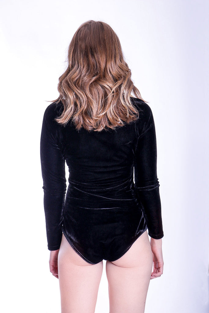 Traffic People If You Please Long Sleeve Body in Black Velvet Close Up Image