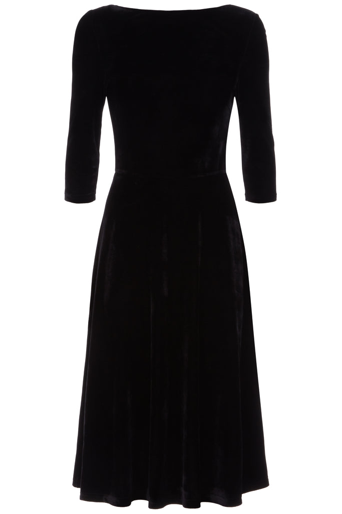 Traffic People Velvet Pensive Midi Dress in Black FlatShot Image
