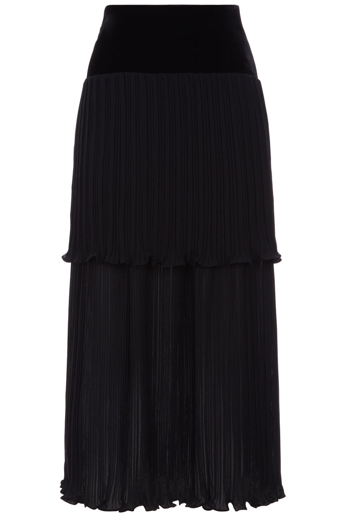 Traffic People Pleated Tiered Midi Skirt in Black FlatShot Image