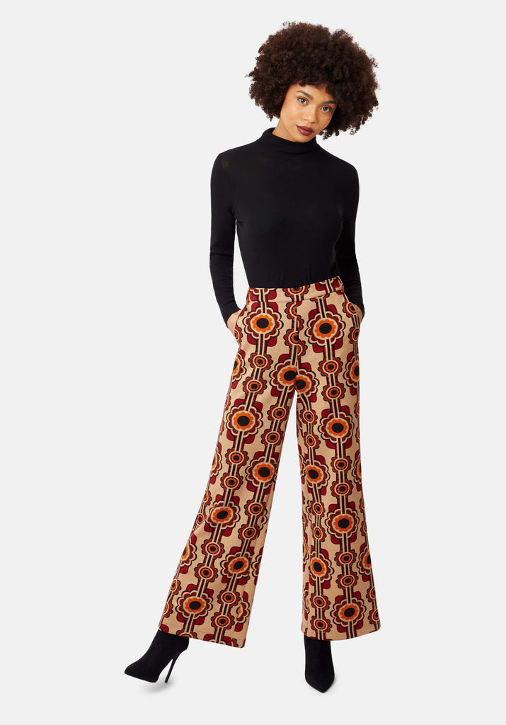 Traffic People Flared Corrie Bratter Printed Trousers in Beige Front View Image