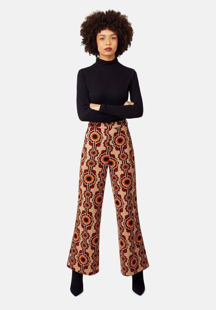 Flared Corrie Bratter Printed Trousers in Beige