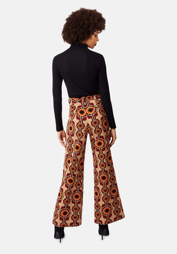 Traffic People Flared Corrie Bratter Printed Trousers in Beige Side View Image