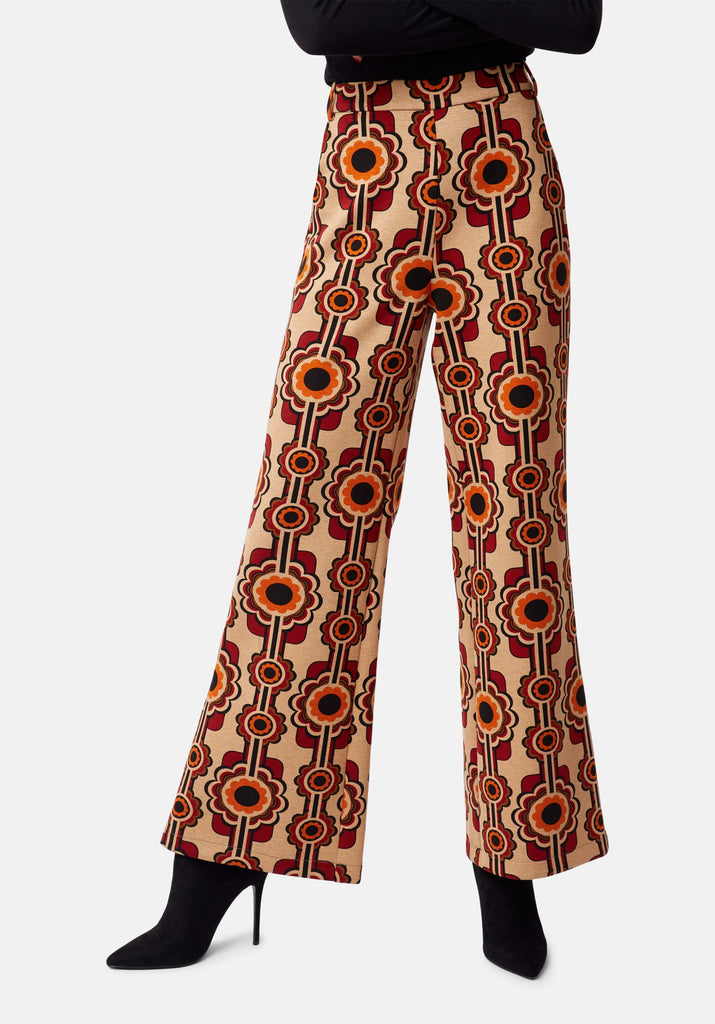 Traffic People Flared Corrie Bratter Printed Trousers in Beige Back View Image