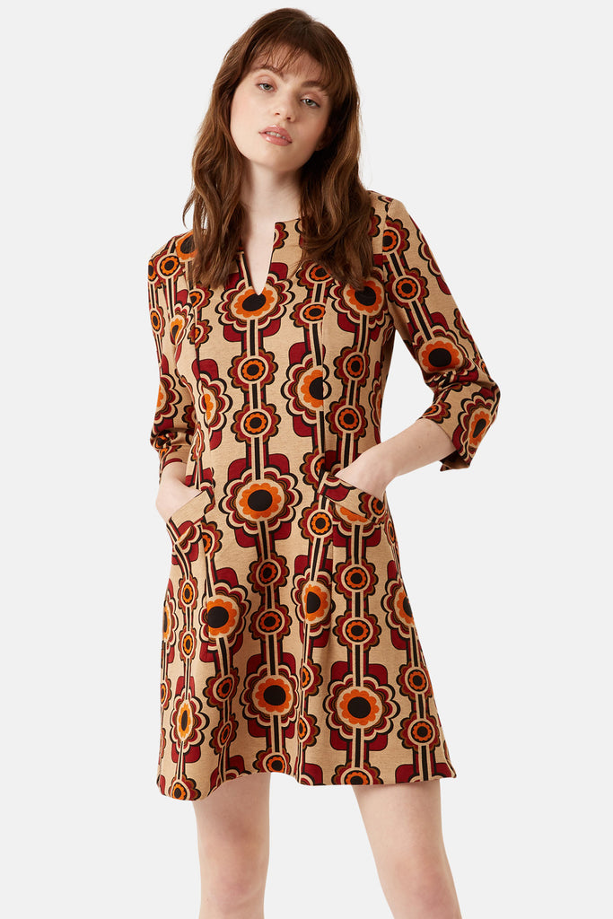 Traffic People Printed Corrie Bratter Mini Tunic Dress Front View Image