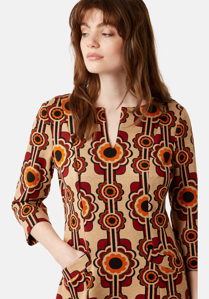 Traffic People Printed Corrie Bratter Mini Tunic Dress Close Up Image
