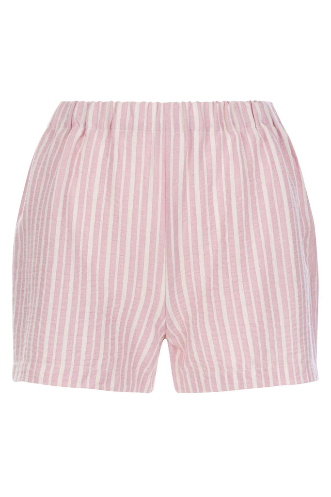 Traffic People Curious Cotton Stripe Shorts in Pink Front View Image