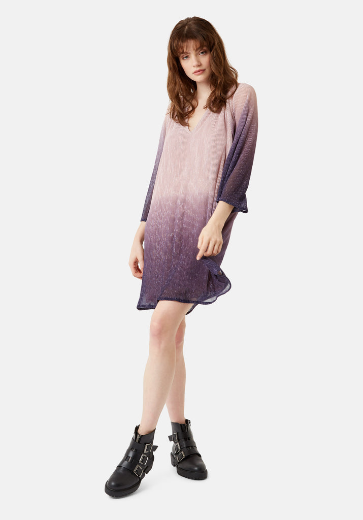 Traffic People Moments Chffon Ombre Mini Dress in Purple and Pink Back View Image