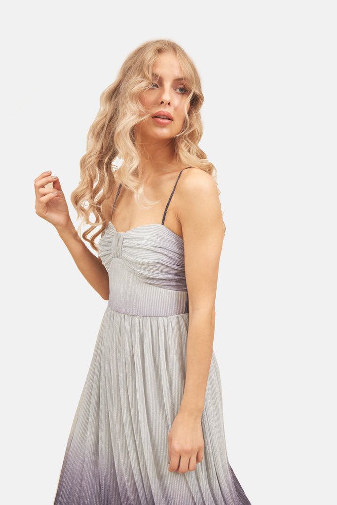 Traffic People Strappy Ombre Midi Dress in Grey and Blue Side View Image