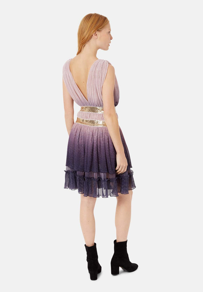 Traffic People Reckless Two Tone Sleeveless Mini Dress in Purple and Pink Side View Image
