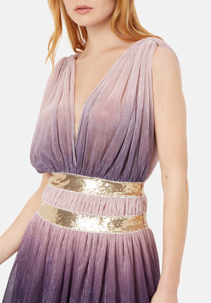 Traffic People Reckless Two Tone Sleeveless Mini Dress in Purple and Pink Close Up Image