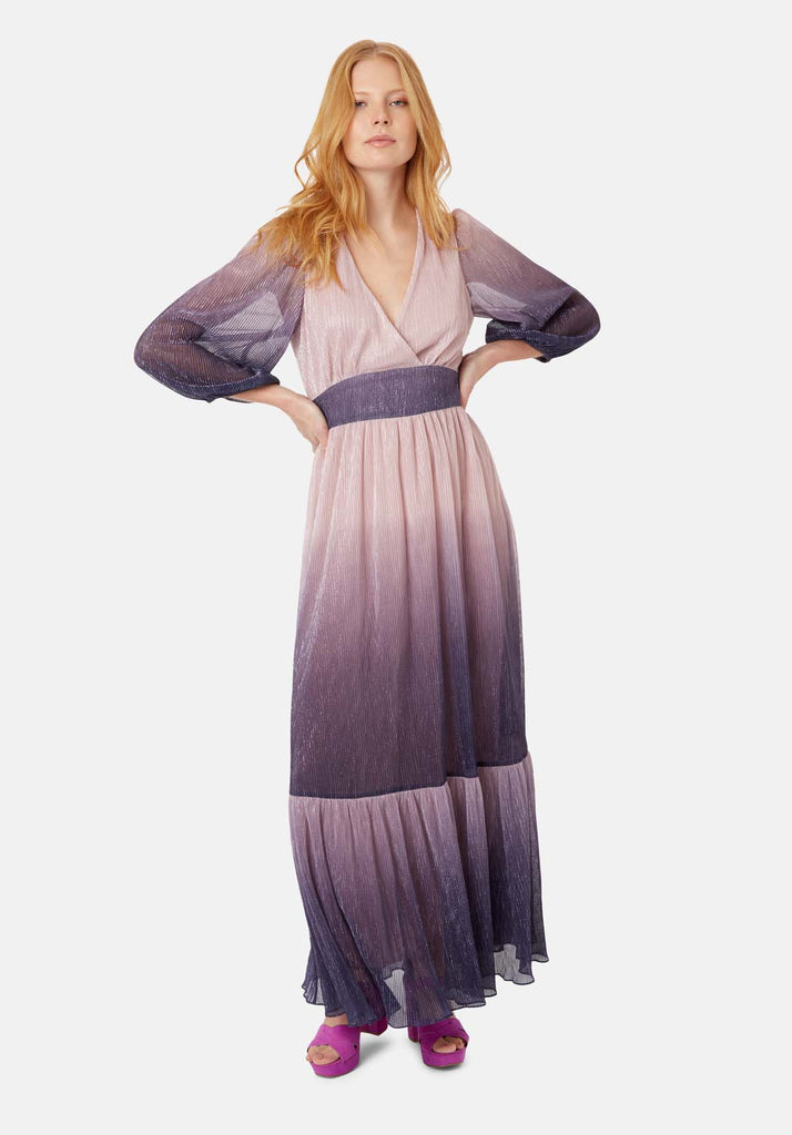 Traffic People Silent Breathe Maxi Dress in Pink and Purple Front View Image