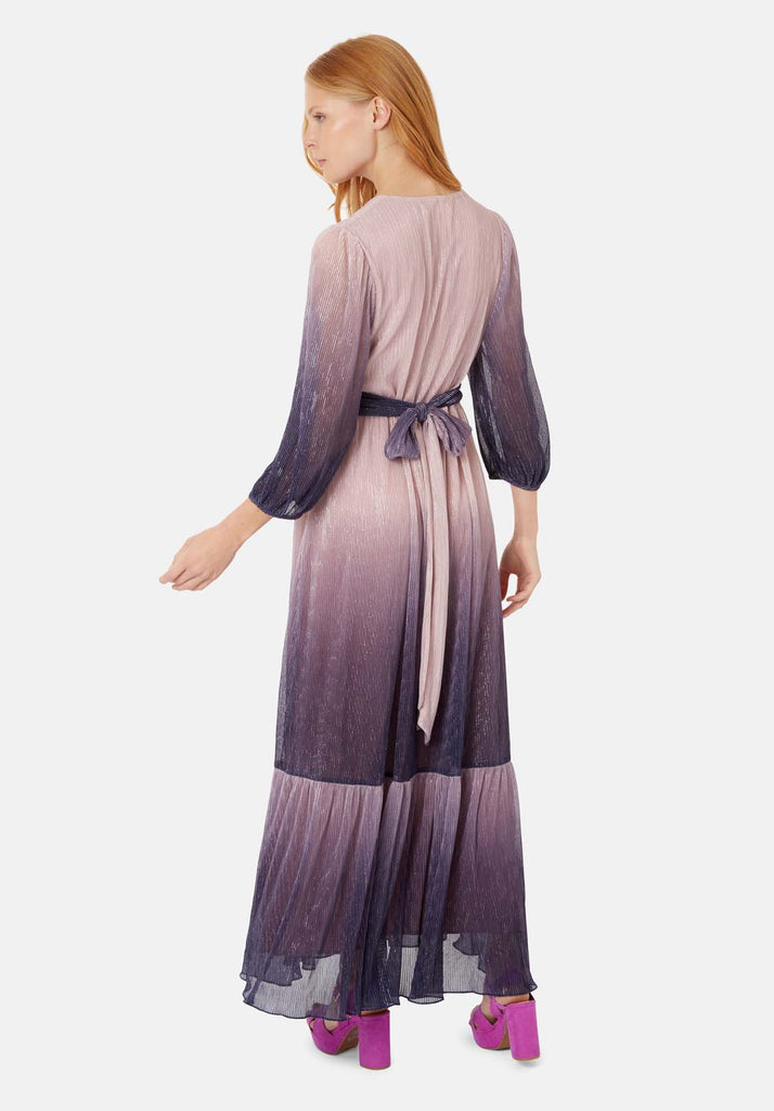 Traffic People Silent Breathe Maxi Dress in Pink and Purple Side View Image