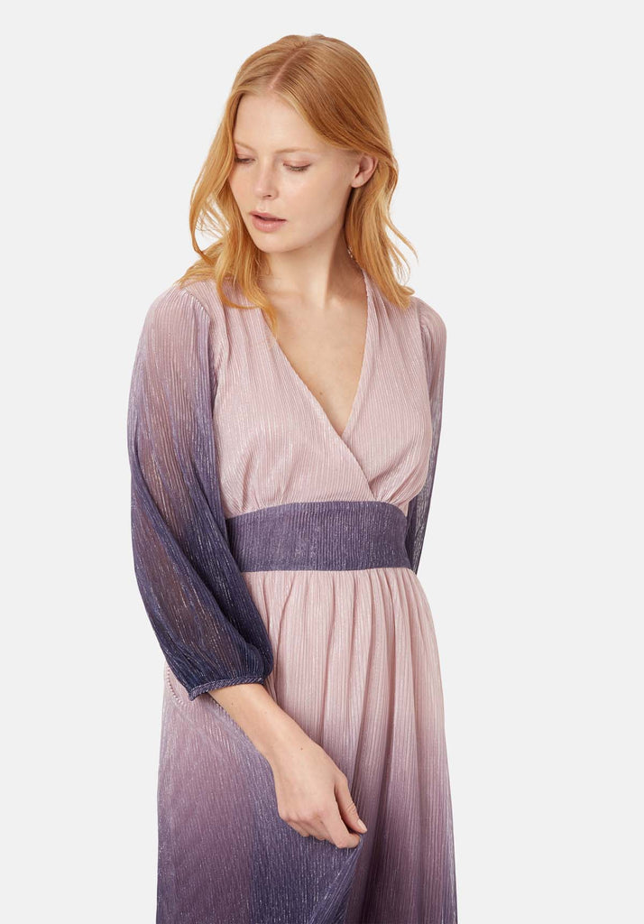 Traffic People Silent Breathe Maxi Dress in Pink and Purple Back View Image