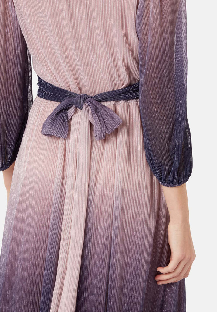 Traffic People Silent Breathe Maxi Dress in Pink and Purple Close Up Image