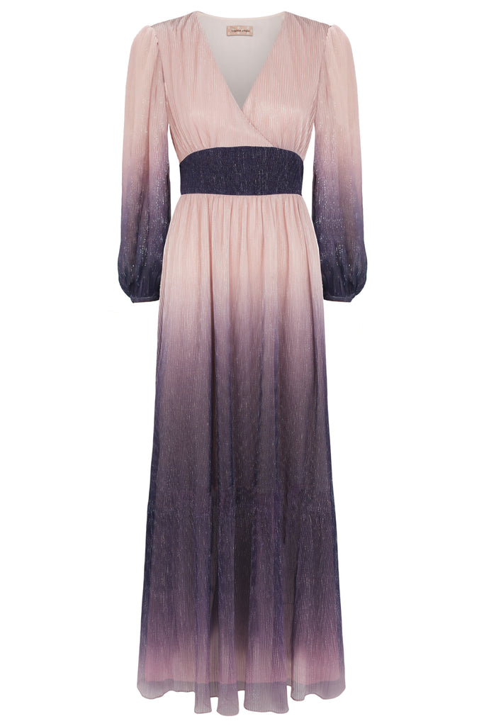 Traffic People Silent Breathe Maxi Dress in Pink and Purple FlatShot Image