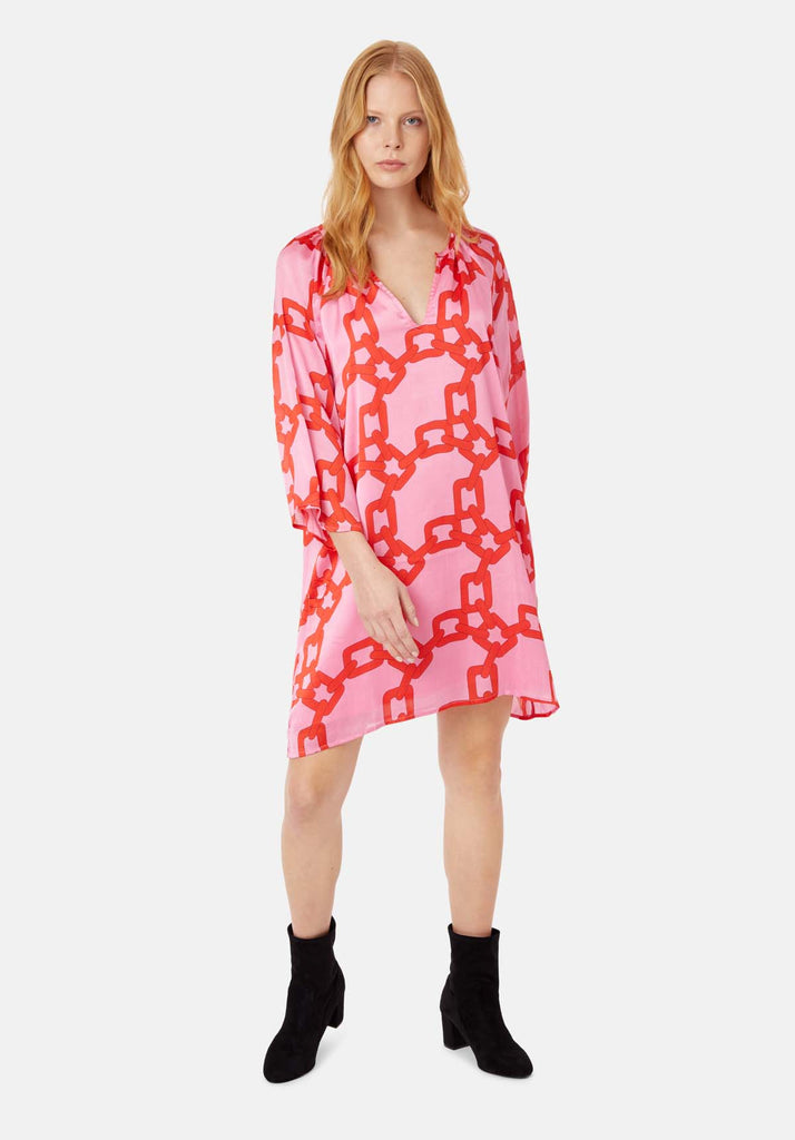 Traffic People Moments V-neck Shift Dress in Red and Pink Chain Print Side View Image