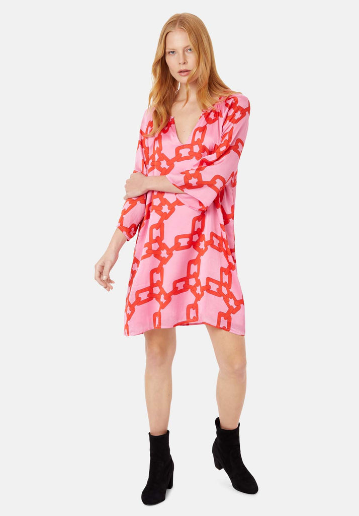 Traffic People Moments V-neck Shift Dress in Red and Pink Chain Print Front View Image
