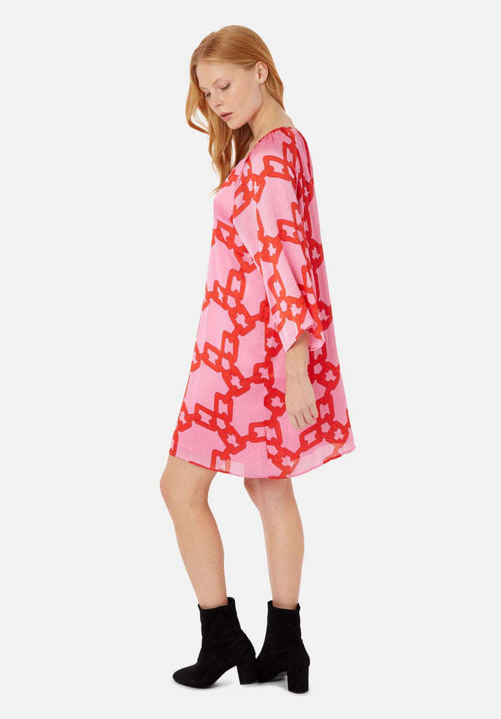 Traffic People Moments V-neck Shift Dress in Red and Pink Chain Print Back View Image