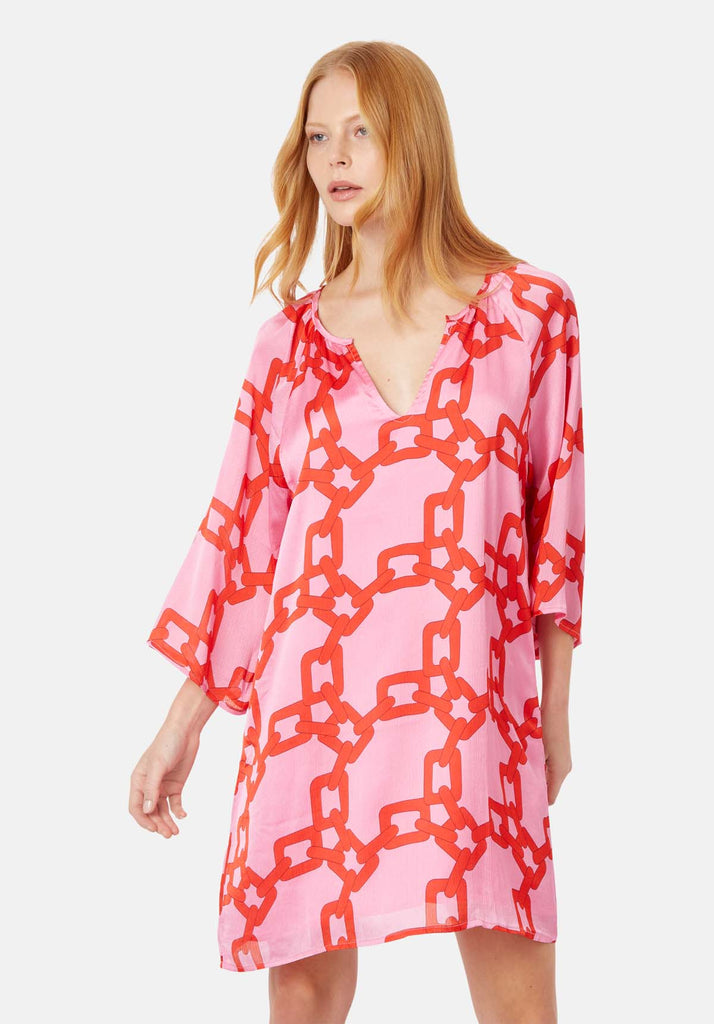 Traffic People Moments V-neck Shift Dress in Red and Pink Chain Print Close Up Image