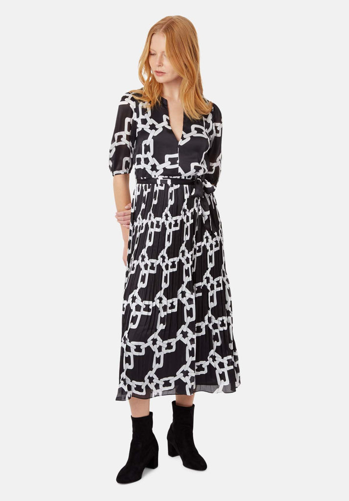Traffic People Supine Chain Print V-neck Midi Dress in Black Front View Image