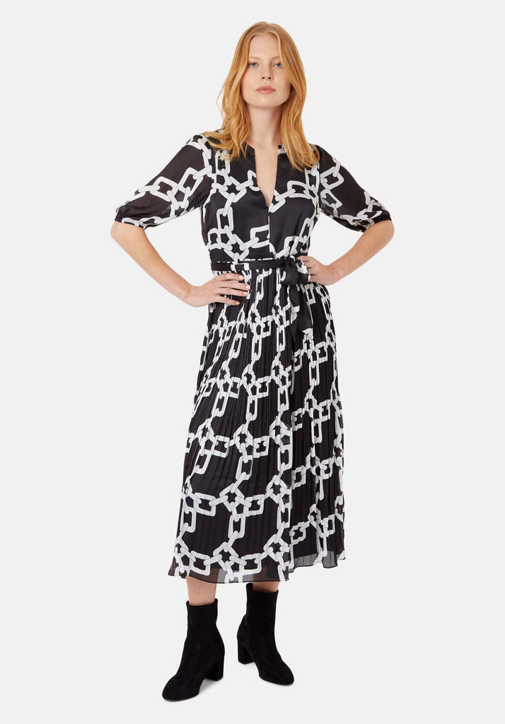 Supine Chain Print V-neck Midi Dress in Black